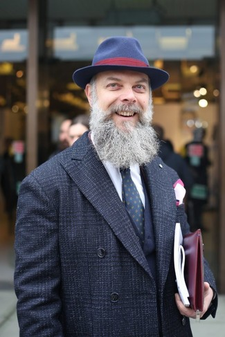 How to wear: black plaid overcoat, navy wool waistcoat, white dress shirt, navy wool hat