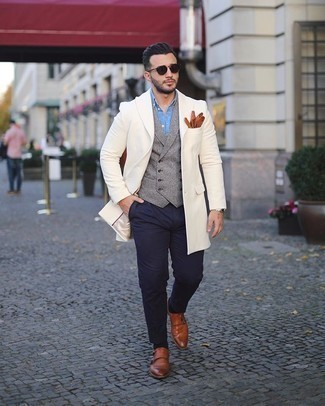 Gloves Outfits For Men: Dress in a white overcoat and gloves to achieve a seriously sharp and laid-back outfit. For something more on the sophisticated end to complete this look, round off with a pair of tobacco leather double monks.