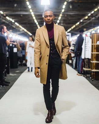 How to wear: camel overcoat, black waistcoat, burgundy turtleneck, black skinny jeans