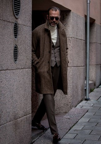 Dark Brown Leather Tassel Loafers Cold Weather Outfits: Consider wearing a dark brown herringbone overcoat and dark brown dress pants if you're going for a proper, trendy outfit. The whole outfit comes together really well if you choose a pair of dark brown leather tassel loafers.