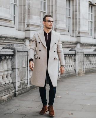 How to wear: beige overcoat, dark purple zip neck sweater, navy skinny jeans, brown suede chelsea boots