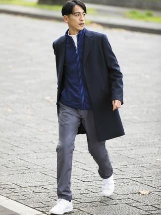 How to wear: black overcoat, navy zip sweater, white turtleneck, grey chinos