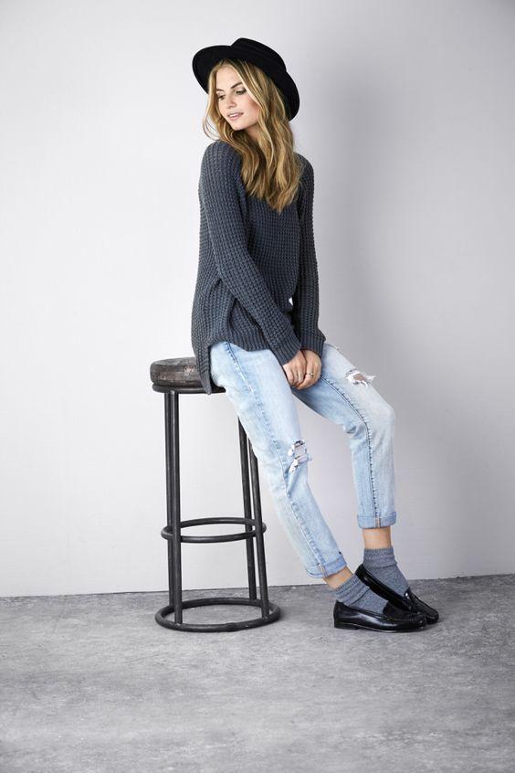 Women's Charcoal Knit Oversized Sweater, Light Blue Ripped ...