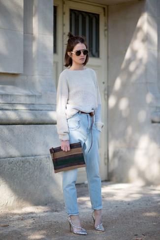 How to wear: grey oversized sweater, light blue boyfriend jeans, silver sequin pumps, dark brown horizontal striped leather clutch