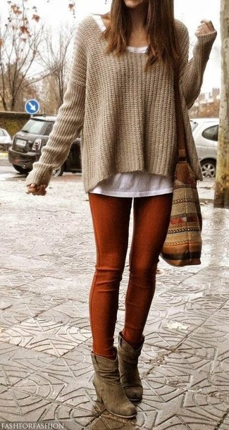 Women's Tan Knit Oversized Sweater, White Crew-neck T-shirt, Tobacco Leggings, Brown Suede Ankle Boots