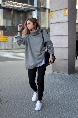 Women's Looks & Outfits: What To Wear In 2020: Go for a grey knit oversized sweater and black jeans to pull together an interesting and current casual outfit. If not sure as to the footwear, complement this outfit with white low top sneakers.