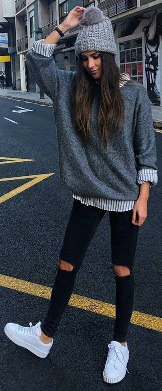 c5abad87e0 ... Women s Grey Oversized Sweater
