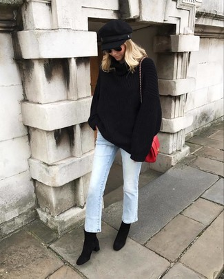 Pair a black knit oversized sweater with a black cap to create a great weekend-ready look. Play down the casualness of your ensemble with black suede ankle boots. We love this one, especially for spring.