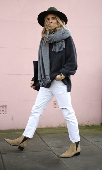 How to wear: charcoal oversized sweater, white ripped jeans, tan suede chelsea boots, black leather tote bag