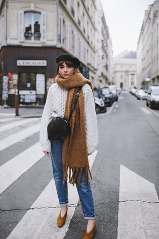 How to wear: white knit oversized sweater, blue jeans, brown suede pumps, black leather crossbody bag