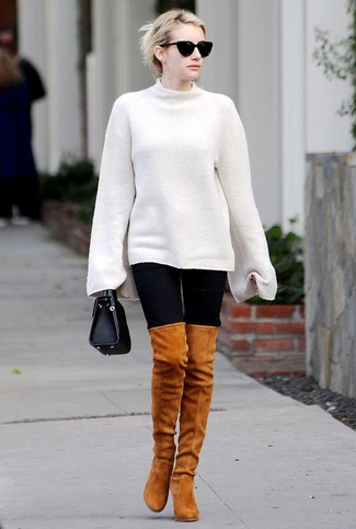 How to wear: white oversized sweater, black leggings, tobacco suede over the knee boots, black leather handbag