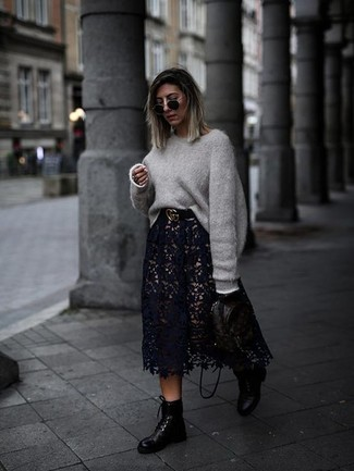 How to wear: grey oversized sweater, black lace midi skirt, black leather lace-up flat boots, black print leather backpack