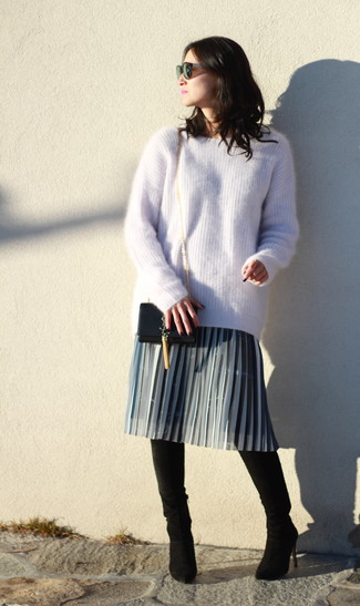How to wear: beige mohair oversized sweater, grey pleated midi skirt, black suede over the knee boots, black leather crossbody bag