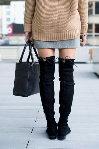 bda38ce20 ... Women's Tan Knit Oversized Sweater, Grey Tweed Mini Skirt, Black Suede  Over The Knee