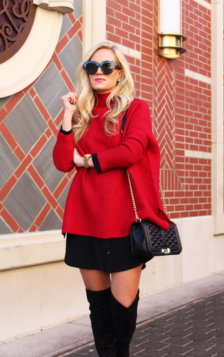 Reach for a red oversized sweater and a black quilted leather crossbody bag for a casual coffee run. Up the ante of your outfit with black suede over the knee boots. Keep the autumn blues away in a chic getup like this one.