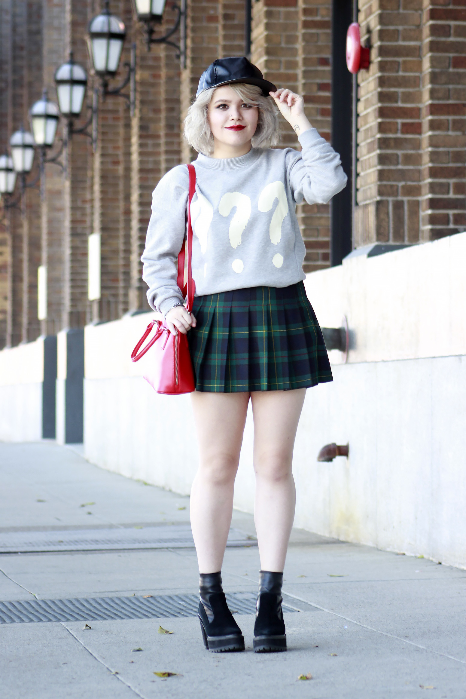 3daa42235 How to wear: light blue print oversized sweater, navy and green plaid  skater skirt