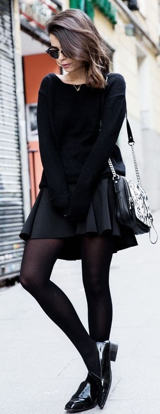 Something as simple as opting for an oversized sweater and a black skater skirt can potentially set you apart from the crowd. Black leather loafers will instantly smarten up even the laziest of looks.