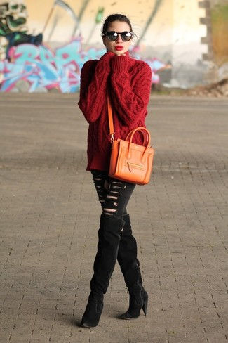 Something as simple as opting for a red knit oversized sweater and an orange leather crossbody bag can potentially set you apart from the crowd. Polish off the ensemble with black suede over the knee boots. These picks will keep you toasty and stylish in transitional weather.