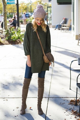 How to wear: dark green oversized sweater, navy skinny jeans, brown suede over the knee boots, brown leather crossbody bag