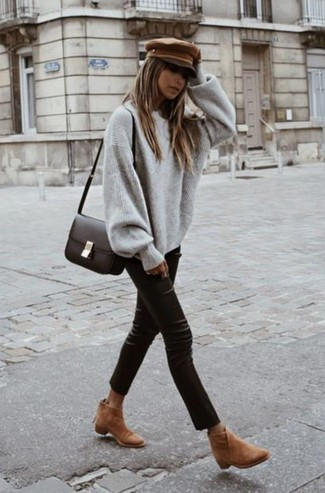 How to wear: grey oversized sweater, black leather skinny pants, tan suede ankle boots, dark brown leather crossbody bag