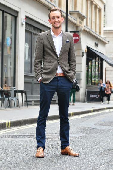 Oxford shoes chinos belt blazer longsleeve shirt pocket