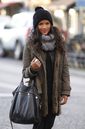 Textured Knit Scarf Gray