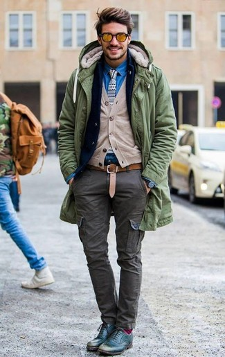Team an olive parka with a Bottega Veneta men's Embossed Belt for a laid-back yet fashion-forward outfit. Smarten up your look with teal leather brogues. Rest assured, this getup will keep you cozy as well as looking sharp in this weird fall weather.