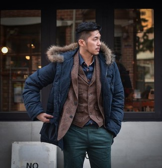 How to wear: navy parka, dark brown wool blazer, dark brown wool waistcoat, navy denim shirt