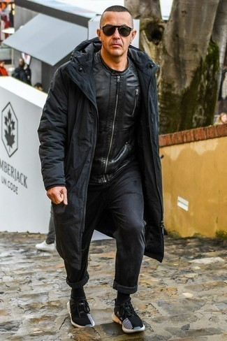 How to Wear a Black Leather Bomber Jacket For Men: Combining a black leather bomber jacket with black jeans is a smart choice for a casual but seriously stylish ensemble. A pair of black athletic shoes effortlesslly ups the appeal of this ensemble.