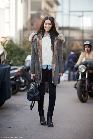 How to wear: grey parka, white cable sweater, light blue denim shirt, black skinny jeans