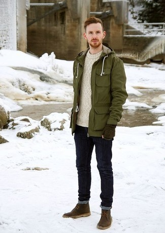 How to Wear an Olive Parka For Men: Pair an olive parka with navy jeans for an easy-to-style ensemble. Infuse your outfit with a hint of sophistication by finishing off with a pair of dark brown leather desert boots.
