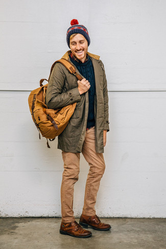 How to wear: olive parka, navy cable sweater, navy plaid flannel long sleeve shirt, khaki jeans