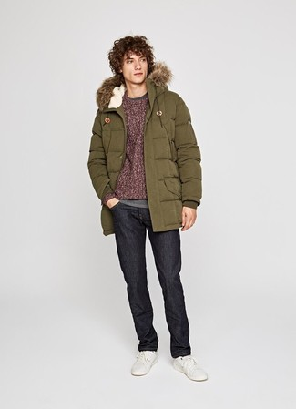 How to wear: olive parka, burgundy cable sweater, grey long sleeve t-shirt, black jeans