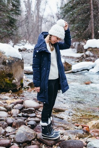 Navy Parka Outfits For Women: This casual pairing of a navy parka and black skinny jeans can only be described as outrageously chic. A pair of black snow boots easily boosts the street cred of your look.