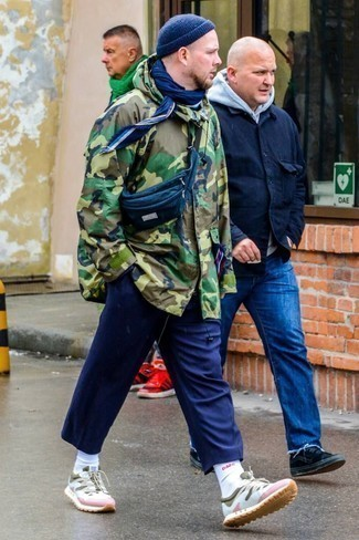 Navy Beanie Outfits For Men: If you prefer edgy pairings, then you'll like this pairing of an olive camouflage parka and a navy beanie. You know how to level up this look: multi colored athletic shoes.
