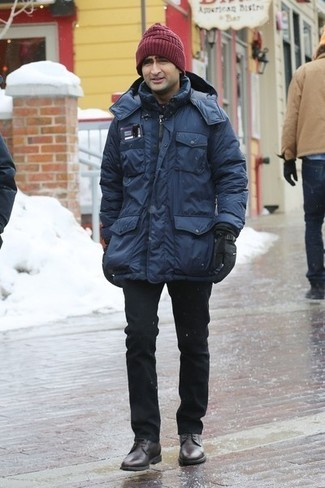 How to wear: navy parka, black chinos, dark brown leather derby shoes, burgundy beanie