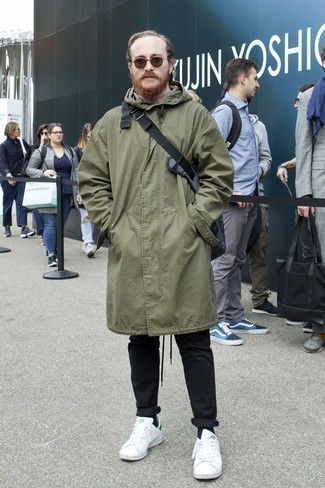 How to Wear Brown Sunglasses For Men: If it's comfort and practicality that you're looking for in a look, consider wearing an olive parka and brown sunglasses. And if you need to immediately up this ensemble with shoes, why not complement this getup with a pair of white leather low top sneakers?