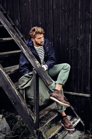 How to wear: navy parka, white and black horizontal striped crew-neck sweater, olive chinos, dark brown leather casual boots