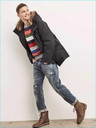 How to Wear Blue Ripped Jeans For Men: This combo of a black parka and blue ripped jeans will prove your prowess in men's fashion even on dress-down days. If you wish to immediately dial up this ensemble with one single item, complete your look with brown leather casual boots.