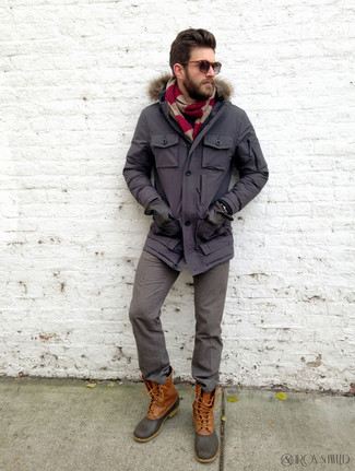 How to Wear Grey Wool Dress Pants For Men: This combo of a charcoal parka and grey wool dress pants looks well-executed and immediately makes any guy look cool. Want to tone it down with shoes? Add brown snow boots to your outfit for the day.