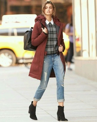 How to wear: tobacco parka, charcoal plaid crew-neck sweater, white dress shirt, light blue ripped jeans