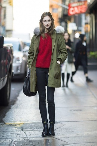 How to wear: olive parka, red crew-neck sweater, black skinny jeans, black leather chelsea boots
