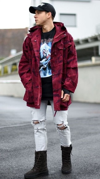 How to wear: burgundy parka, black print crew-neck t-shirt, light blue ripped jeans, black suede high top sneakers