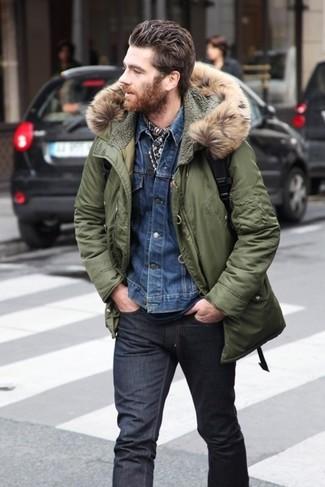 Chris Pine wearing Olive Parka, Blue Denim Jacket, Navy Crew-neck T-shirt, Charcoal Jeans