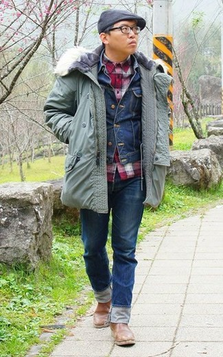 How to wear: mint parka, navy denim jacket, red gingham long sleeve shirt, navy jeans