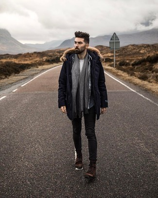 Grey Scarf Outfits For Men: A navy parka and a grey scarf paired together are a smart match. And if you want to easily dress up this ensemble with a pair of shoes, complement your look with a pair of dark brown suede casual boots.