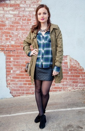 How to wear: olive parka, blue plaid dress shirt, black quilted leather mini skirt, black suede ankle boots