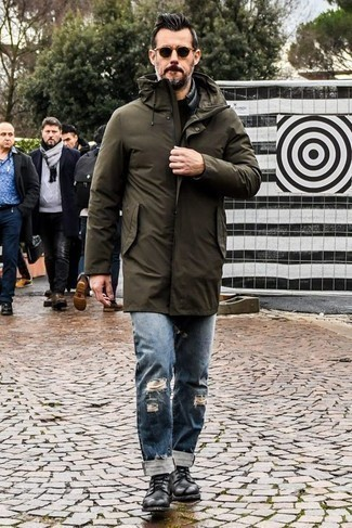 How to Wear an Olive Parka For Men: Go for an olive parka and blue ripped jeans to be both relaxed casual and comfortable. Let your outfit coordination chops really shine by completing this ensemble with black leather casual boots.