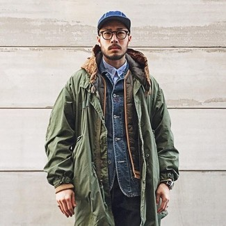 How to wear: olive parka, olive quilted gilet, navy denim jacket, light blue long sleeve shirt