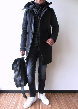 How to wear: black parka, black quilted gilet, navy knit turtleneck, black jeans